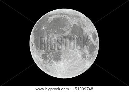 Detailed shot of the full Moon at its closest approach to Earth, shot at 1600mm focal length