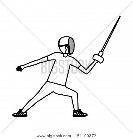 Boy fencing icon. Sport hobby and training theme. Isolated design. Vector illustration