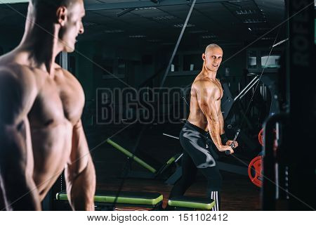 man exercising in trainer for triceps muscles in the gym.