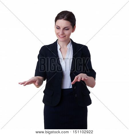 Smiling businesswoman standing over white isolated background working with virtual screen, business, education, office, future technology concept
