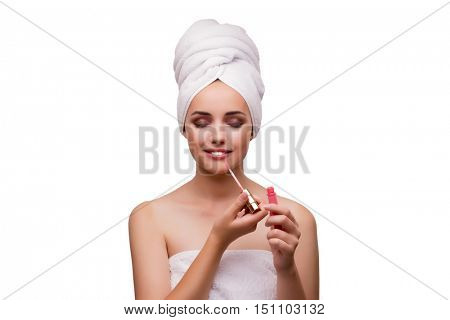 Beautiful woman in beauty concept isolated on white