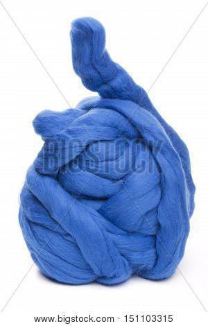 Hank merino wool blue on a white background