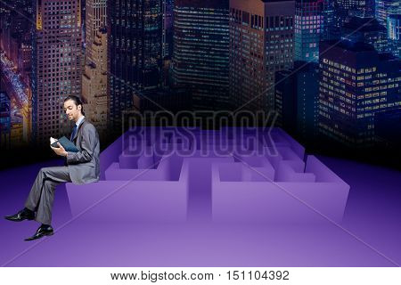 Businessman in maze business concept