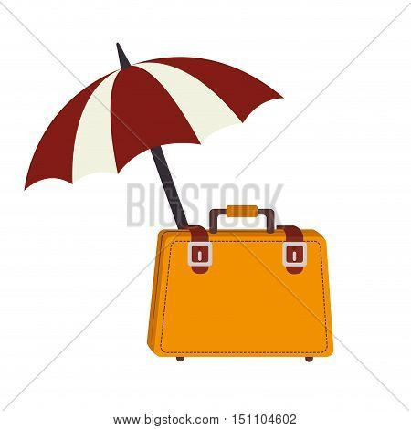 tavel yellow bag accessory and beach parasol over white background. vector illustration