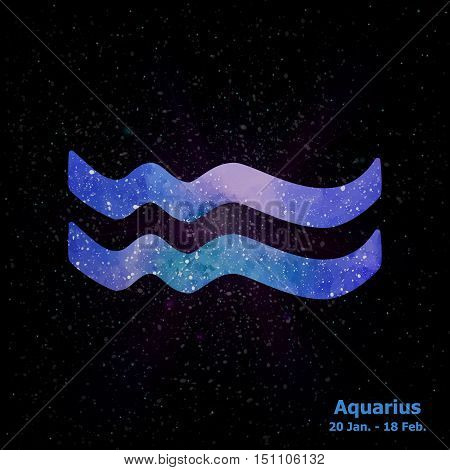 Watercolor Sign Of The Zodiac Aquarius On Star Space Background.