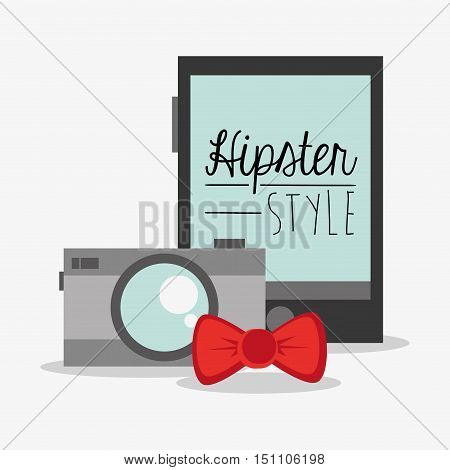 Camera smartphone and bowtie icon. Hipster style fashion and vintage theme. Colorful design. Vector illustration