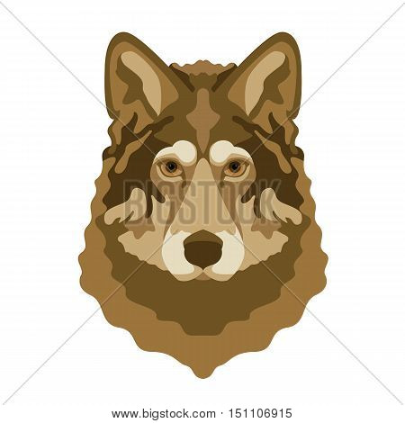 wolf head face vector illustration style flat