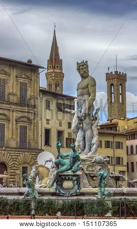 Fountain of Neptune in Piazza della Signoria in Florence Italy