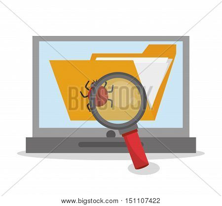 File bug and laptop icon. Security system cyber and data theme. Colorful design. Vector illustration
