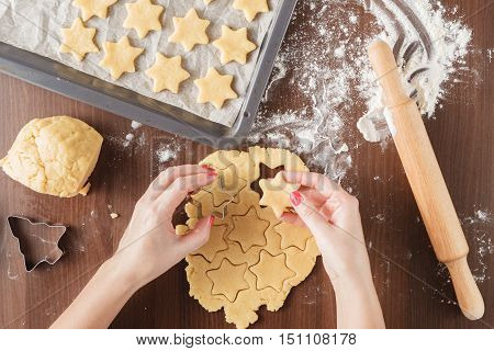 Process Of Extrusion Gingerbread Cookies In The Shape Of A Star. Hands Cooking, Moulds For Cookies,