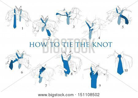 Vector illustration of Instructions, Scheme, Brochure for How to tie knot on white background. Hand drawn graphic design.