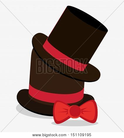 Hat and bowtie icon. Hipster style fashion and vintage theme. Colorful design. Vector illustration