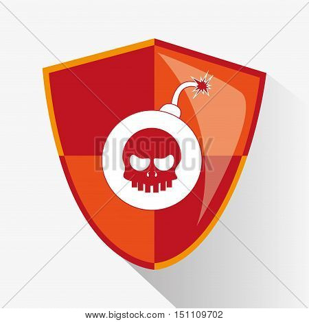 Bomb inside shield icon. Security system cyber and data theme. Colorful design. Vector illustration