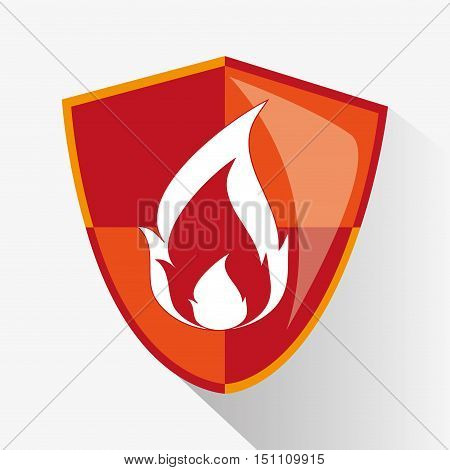 Flame inside shield icon. Security system cyber and data theme. Colorful design. Vector illustration