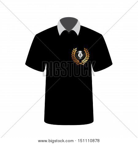 T-shirt billiards player with image of the ball number 8. Vector Illustration. EPS10