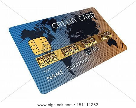 Generic credit card with combination lock as identification number isolated on white , Safe banking , 3d illustration