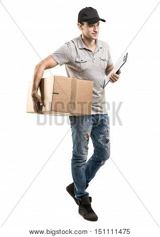 Courier hands of boxes packages on white