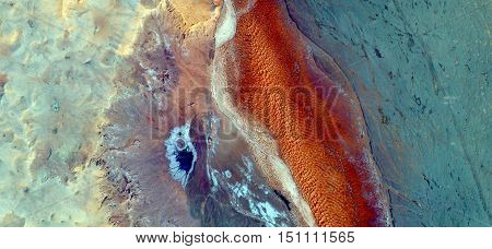 Delusion giant cuttlefish in the African desert carrying their orange roe looking for an oasis to spawn,abstract landscapes of deserts of Africa from the air, Munimara Collection of Abstract Naturalism