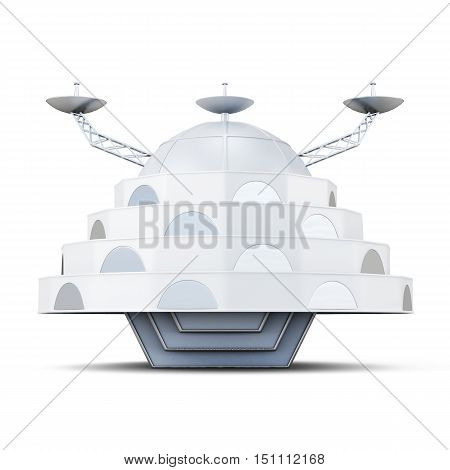 Alien Spaceship Isolated On A White Background. 3D Rendering