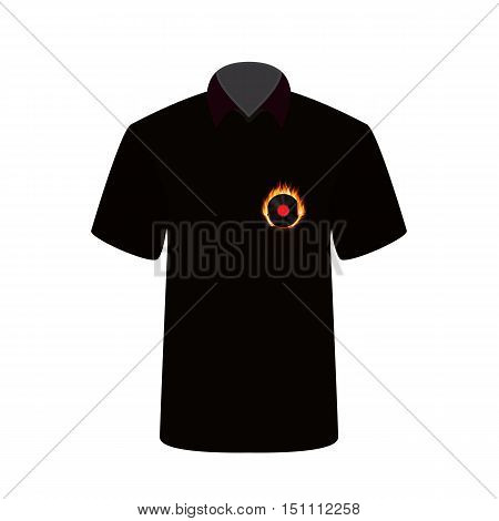 T-shirt with the image of fire and vinyl. Vector Illustration. EPS10