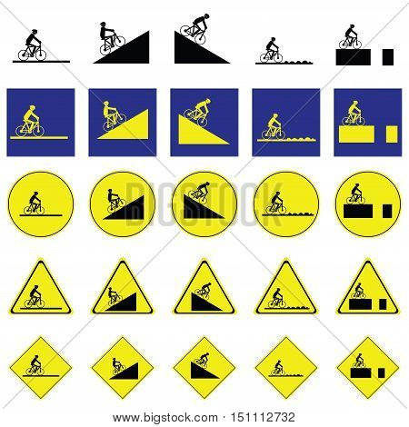 Warning sign of man cycling on the various ways include slope up and down, rough way and road with deep hole