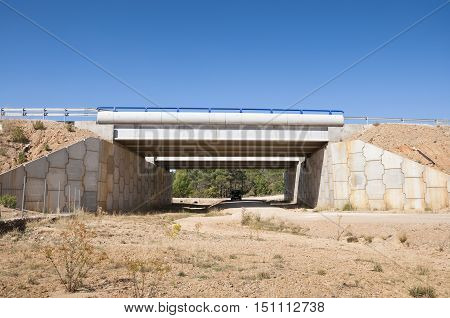 Wildlife passage. They are structures that allow animals cross human-made barriers safley. Picture taken in A-15 motorway Soria Spain
