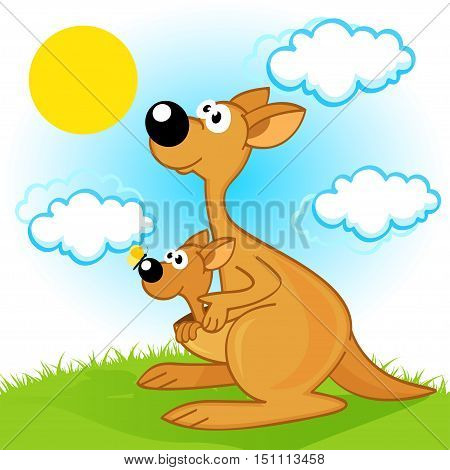 mother kangaroo with baby  - vector  illustration, eps