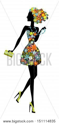flower girl. a beautiful woman full of life . Stock vector illustration