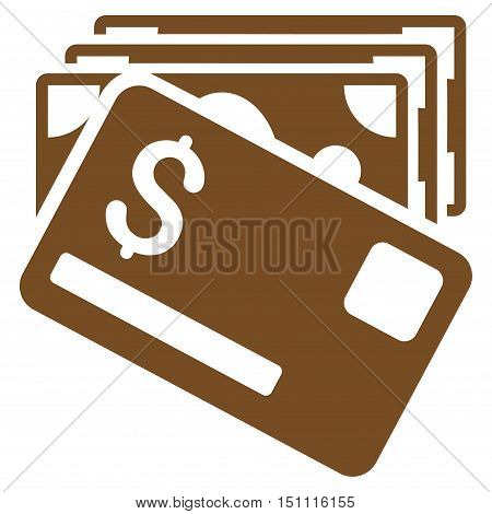 Banknotes and Card icon. Glyph style is flat iconic symbol with rounded angles, brown color, white background.