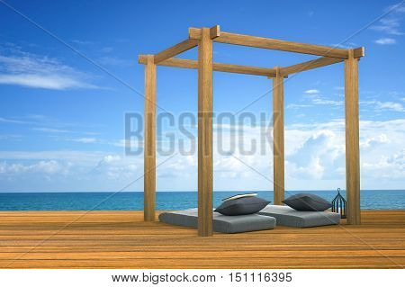 3D rendering : illustration of modern wooden beach lounge decoration at balcony outdoor wooden room style with Sundeck on Sea view for vacation and summer / 3d render outdoor living