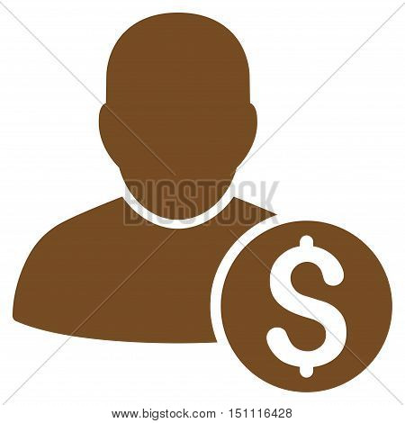 Businessman icon. Glyph style is flat iconic symbol with rounded angles, brown color, white background.