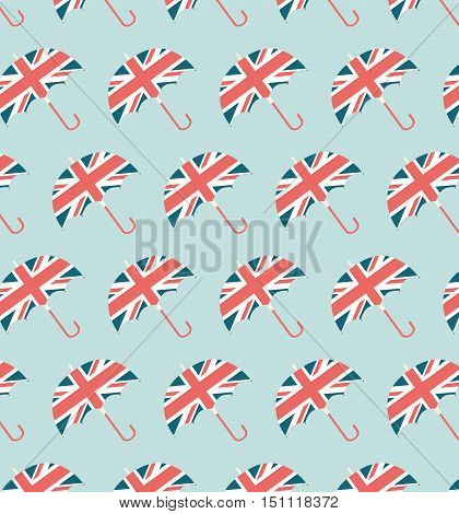 London Umbrella Pattern - England Vintage Pattern Illustration Flat -