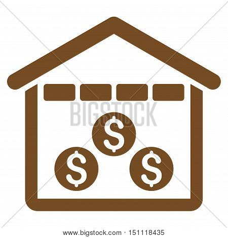 Money Depository icon. Glyph style is flat iconic symbol with rounded angles, brown color, white background.