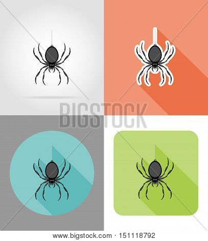 spider flat icons vector illustration isolated on background