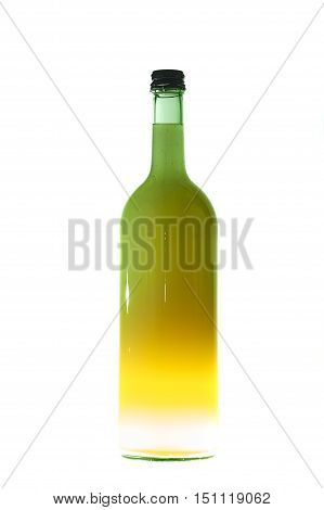 Green Bottle With Liquid, Light From The Bottom