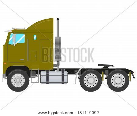 Green old truck-tractor isolated on white background. Vector illustration