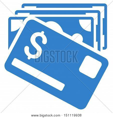 Banknotes and Card icon. Glyph style is flat iconic symbol with rounded angles, cobalt color, white background.