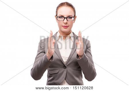 Strict serious businesswoman isolated on white