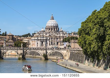 View of St. Peter's Basilica and the Sant'angelo bridge after the canonization of Pope John XXIII from Ponte Umberto I