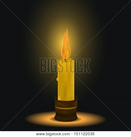 the candle burns. dark space. a flame of fire. melting wax. candlestick. vector illustration
