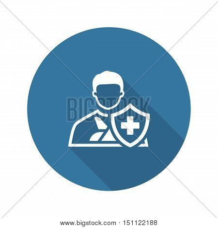 Accident Insurance Icon. Flat Design. Isolated Illustration. A man with a bandage on his hand and a shield with a cross in front.
