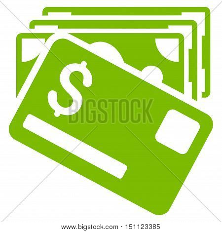 Banknotes and Card icon. Glyph style is flat iconic symbol with rounded angles eco green color white background.
