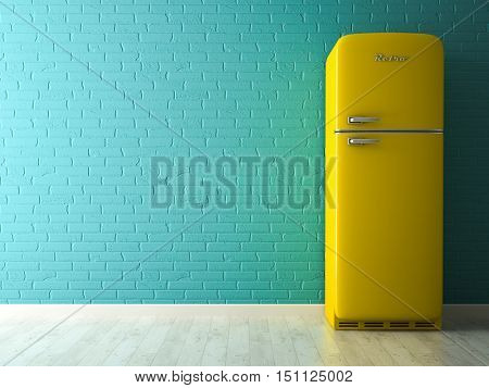 Interior with yellow fridge 3D rendering