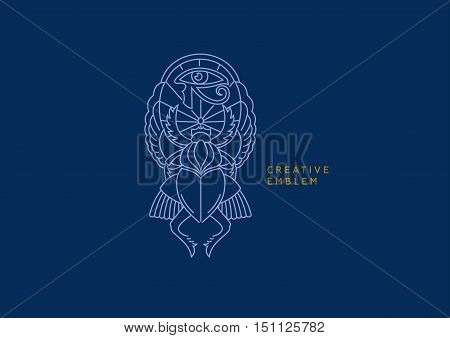 Egyptian emblem, scarab with wings and eye