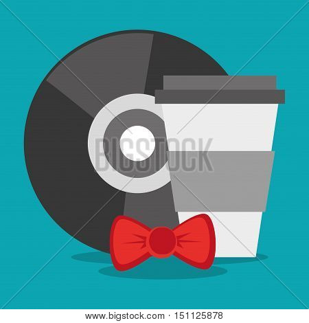 Coffee mug vinyl and bowtie icon. Hipster style fashion and vintage theme. Colorful design. Vector illustration