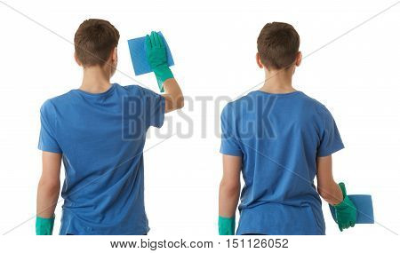 Set of cute teenager boy in blue T-shirt and green rubber gloves with rag over white isolated background from back, half body, cleaning concept