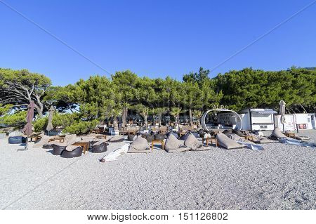 BOL, ISLAND BRAC, CROATIA - JULY 17, 2016: Aurum Club at Zlatni rat beach waiting for guests from Ultra 2016 festival