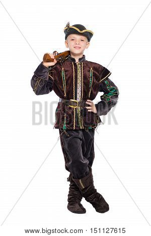 Young boy posing in a suit of medieval hunter. Isolated on white