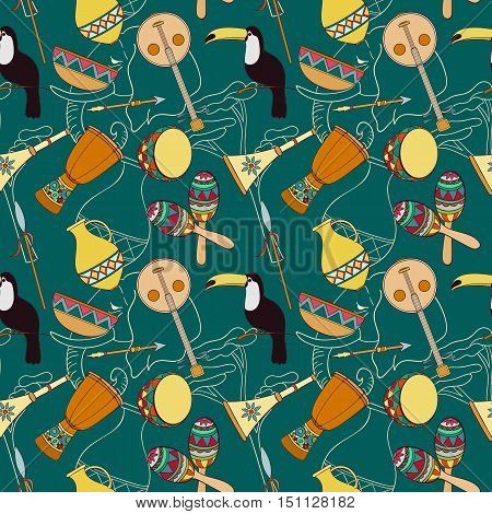 Hand-drawn seamless african pattern. Vector illustration. Sketch elements of toucan, drum, sharers, horn, vase, plate, spear