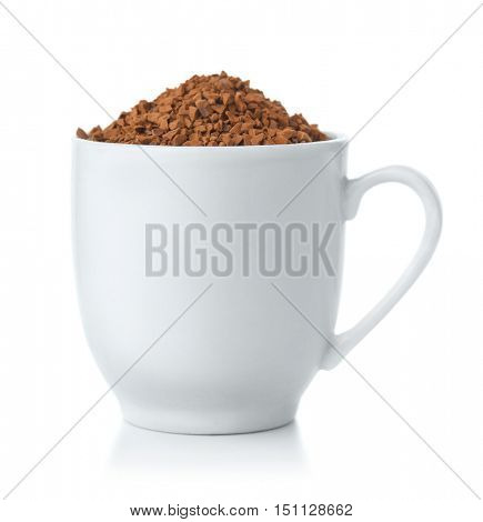 Coffee cup full of Instant coffee granules isolated on white